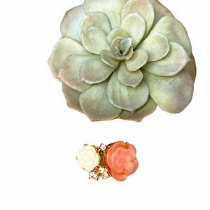 SALE! Two Rose Ring with Faux Diamonds